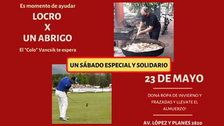 """El golfista Daniel Vancsik propone """"un sábado distinto y solidario"""": porciones de Locro y Arroz con Pollo por ropa de invierno"""