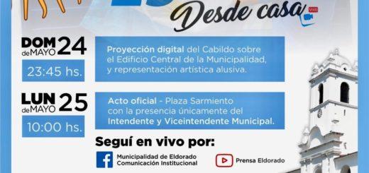 """Eldorado: esta noche el municipio iniciará la celebración del 25 de mayo """"desde casa"""""""