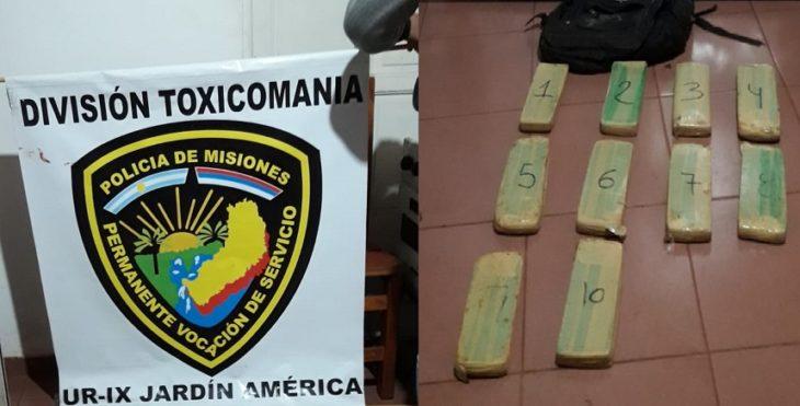 La Policía secuestró 10 panes de marihuana en Jardín América