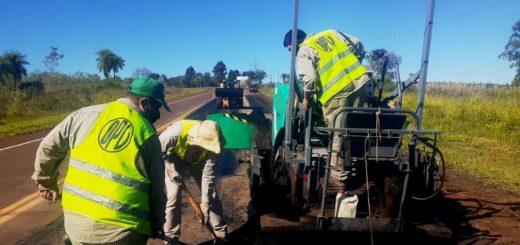 Validad de Misiones trabaja en reparaciones y señalización de la Ruta Provincial Nº 103