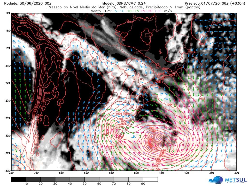 """Brasil: una """"bomba ciclónica"""" impactará en la región sur y sudeste del país, con fuertes vientos y lluvias torrenciales"""