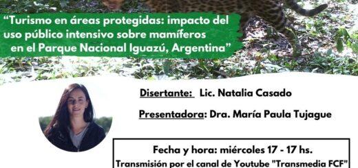 """FCF-UNaM: Natalia Casado dictará una charla virtual sobre """"Turismo en áreas protegidas y el impacto en la conservación de mamíferos en el PN Iguazú"""""""