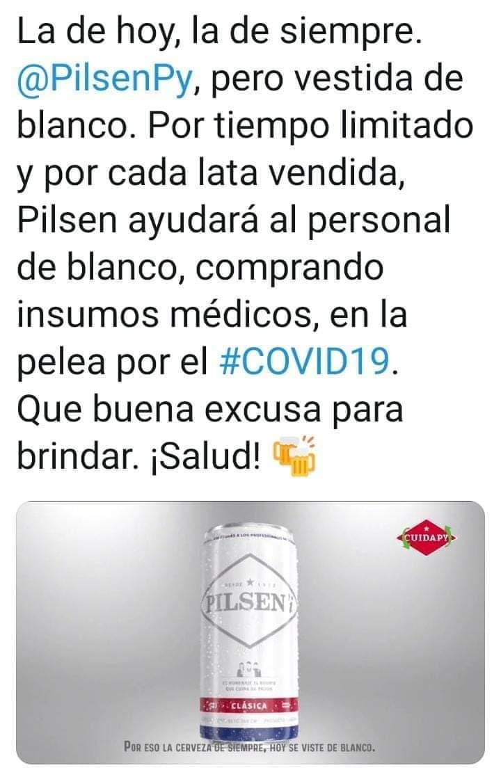 Coronavirus: cerveza de Paraguay lanza una etiqueta blanca en homenaje a los médicos y comprará insumos para el personal de salud por cada lata vendida