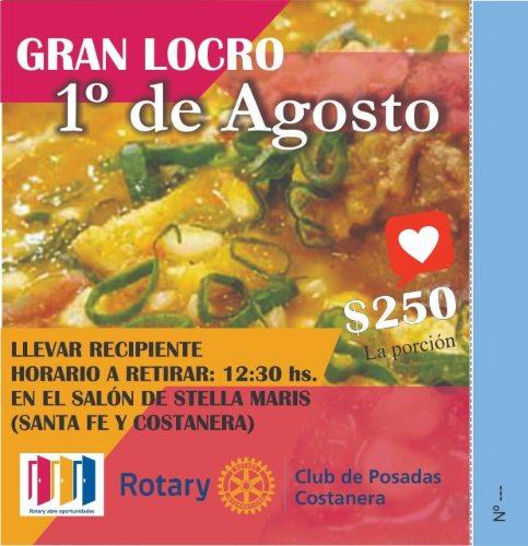 El Rotary Club Posadas Costanera cocina para este mediodía un delicioso locro solidario en la Iglesia Stella Maris