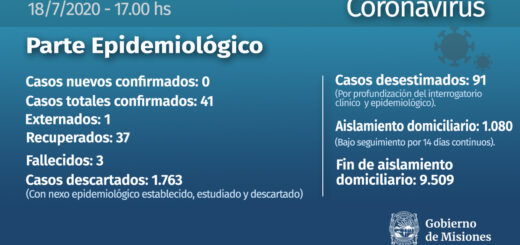 Situación actualizada del coronavirus en Misiones: de los 41 infectados solo uno aún cursa la enfermedad
