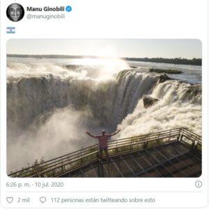 """Manu"" Ginóbili publicó una espectacular foto suya de cuando estuvo en Cataratas del Iguazú"