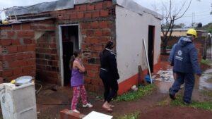 En Posadas la lluvia no paró en todo el día y varias familias se vieron afectadas