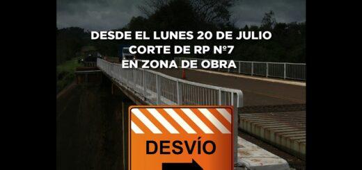 ¡Atención! Cortarán la circulación vehicular de la Ruta Provincial N° 7 desde el lunes