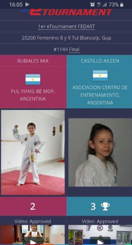 Aileen campeona en el torneo virtual de Taekwondo