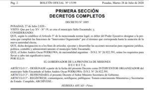 Municipio 77: es oficial la designación de Andrés Podkowa como interventor organizador de Salto Encantado