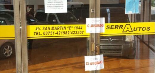Por falta de habilitación municipal, clausuraron el local donde funcionaba una agencia de autos en Eldorado