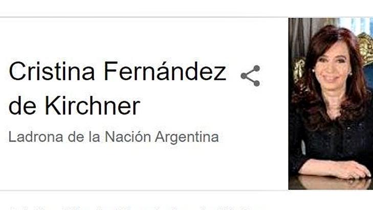 """La vicepresidenta Cristina Kirchner demandó a Google porque al buscarla figura como """"Ladrona de la Nación Argentina"""""""