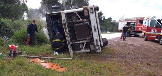 Caraguatay: un herido dejó el vuelco de un camión en la ruta 12