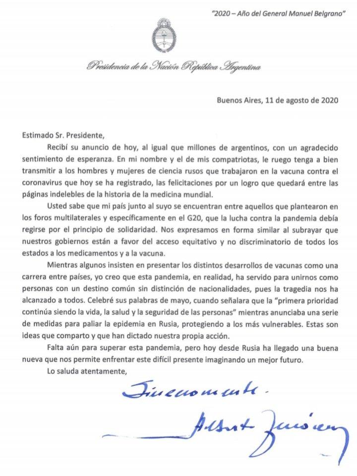 Alberto Fernández le envió una carta de felicitación a Putin por la vacuna contra el coronavirus