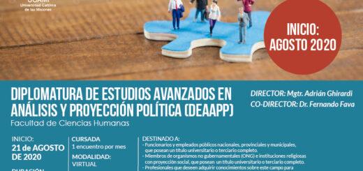 La UCAMI realizará la segunda edición de la Diplomatura de Estudios Avanzados en Análisis y Proyección Política con modalidad virtual