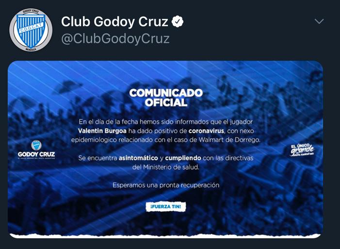 Coronavirus en el fútbol argentino: Burgoa, de Godoy Cruz, dio positivo