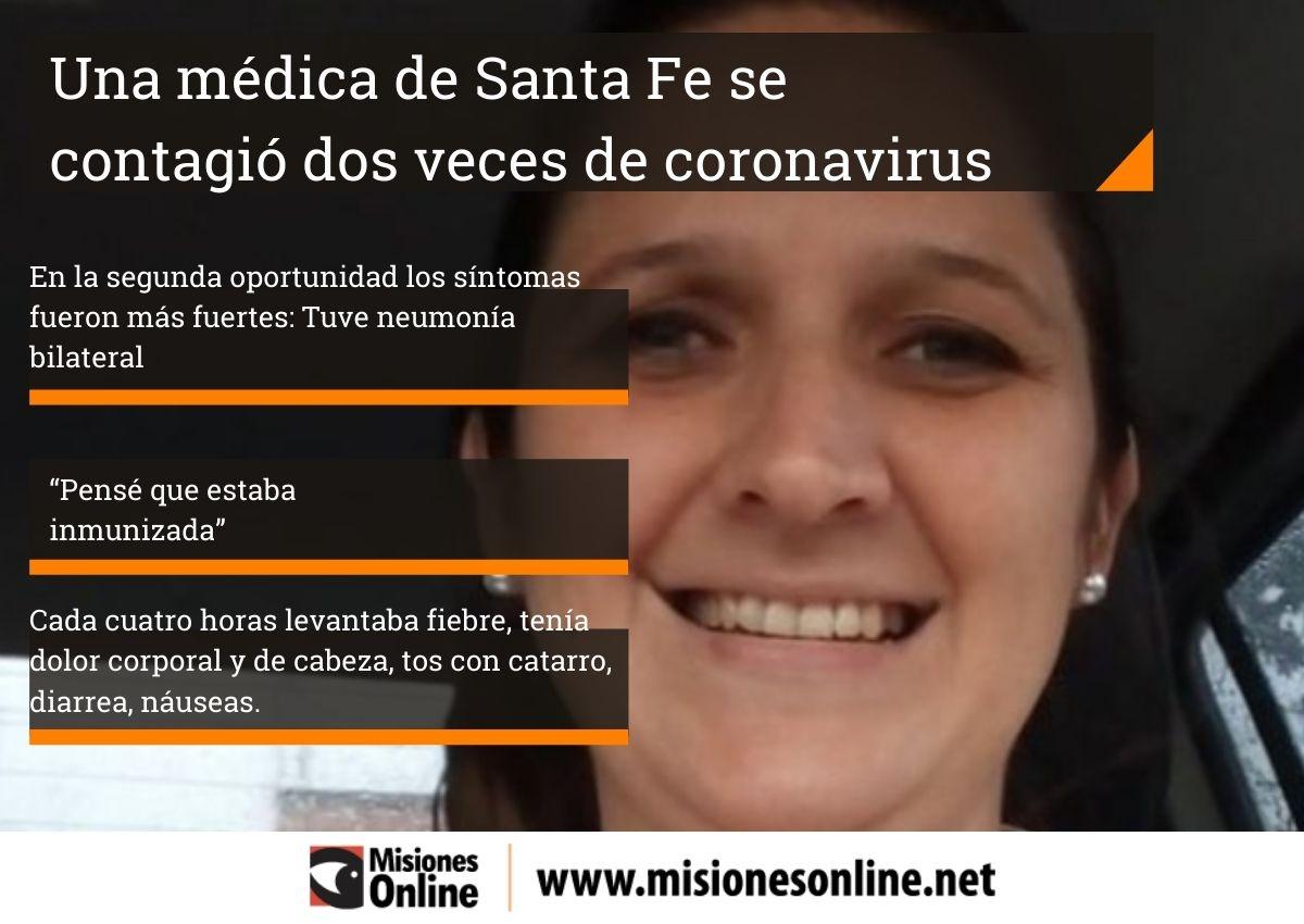 """Una médica santafesina se contagió dos veces de coronavirus: """"Pensé que estaba inmunizada"""""""