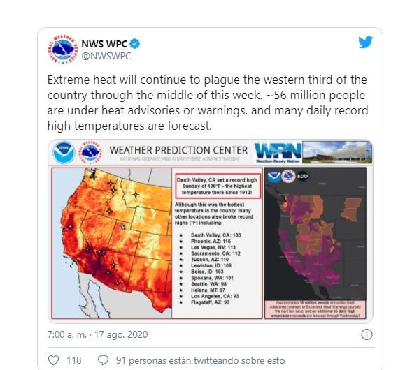 Calor histórico en California: registró temperaturas de más de 54 grados