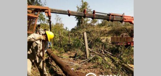 Energía de Misiones efectuó cambio de postes y tareas de emergencia