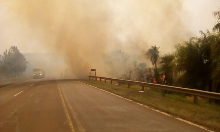 Incendios forestales: una gran masa de humo dificulta el tránsito en la ruta 12 a la altura de Loreto
