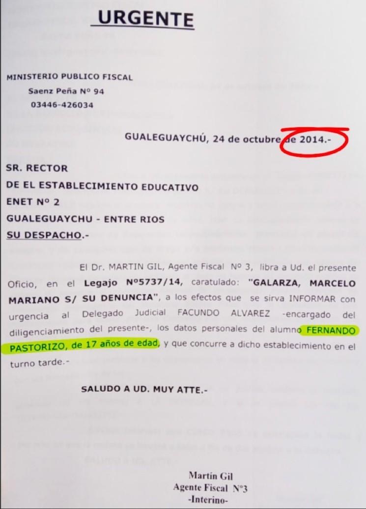 Nahir Galarza denunció que la abusaron en grupo y vinculó a Fernando Pastorizzo