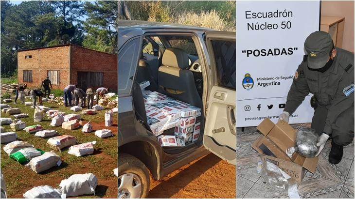 Gendarmería frustró el tráfico de drogas y contrabando de cigarrillos por más de seis millones de pesos