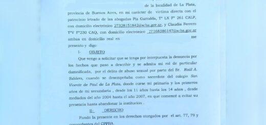 Presentan denuncia por abuso sexual contra un sacerdote de La Plata que fue trasladado a Puerto Iguazú