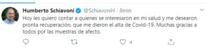El senador Humberto Schiavoni recibió el alta médica tras dar positivo de Covid-19