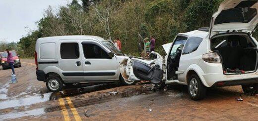 Un choque frontal dejó tres heridos en Colonia Aurora