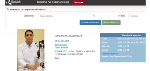 El médico especialista en Oftalmología Eduardo Barrera habilitó los turnos online para optimizar la atención de sus pacientes