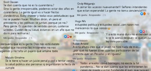 Coronavirus en Misiones: tras un caso de coronavirus que generó una serie de aislamientos, estalló el debate en el Facebook de Misiones Online