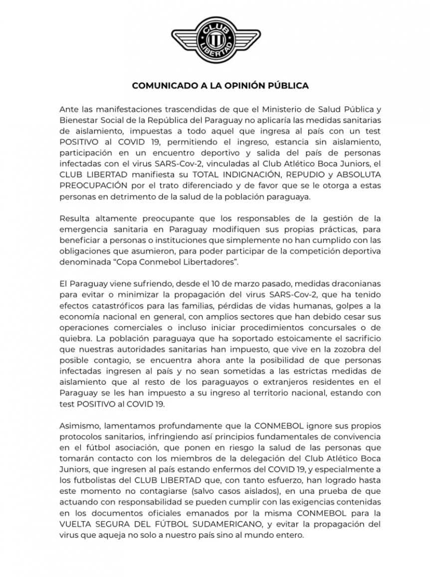 Polémica en la Copa Libertadores: Libertad evalúa pedir los puntos ante Boca