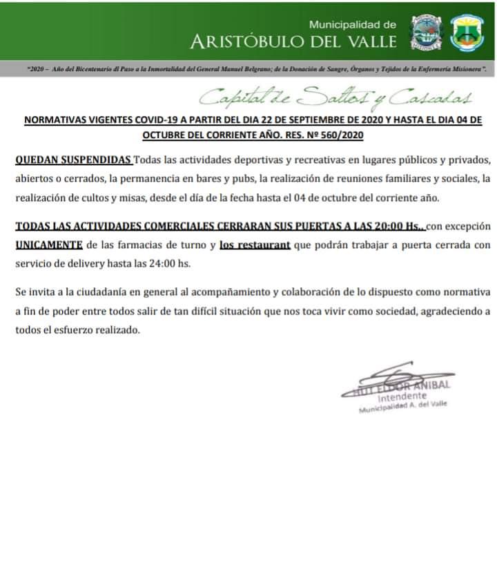 Coronavirus: en Aristóbulo del Valle hay 23 personas aisladas y continuarán con actividades restringidas