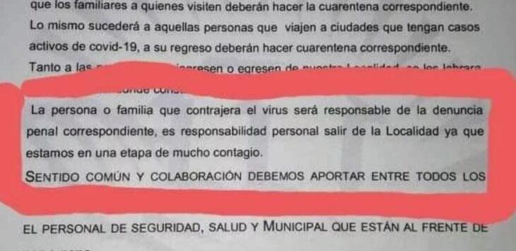 Insólito: en Corrientes denunciarán penalmente y expulsarán de su ciudad a quienes se contagien covid-19