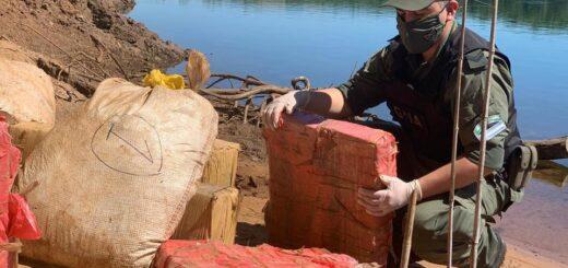 Hallan más de 205 kilos de marihuana acopiados a orillas del río Paraná en Misiones