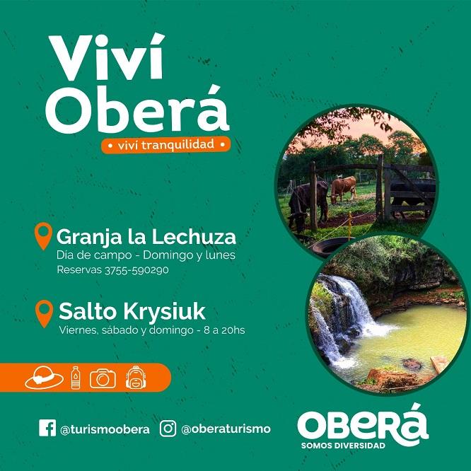 Oberá te invita a vivir un fin de semana rodeado de la belleza, tranquilidad y aventura de sus atractivos turísticos