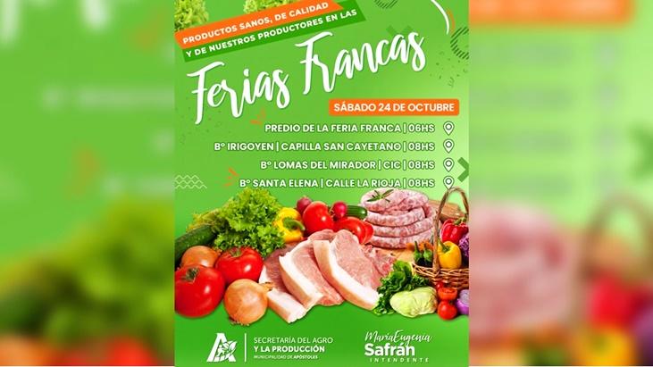 Apóstoles: el sábado 24 habrá Ferias Francas en diferentes sectores de la ciudad