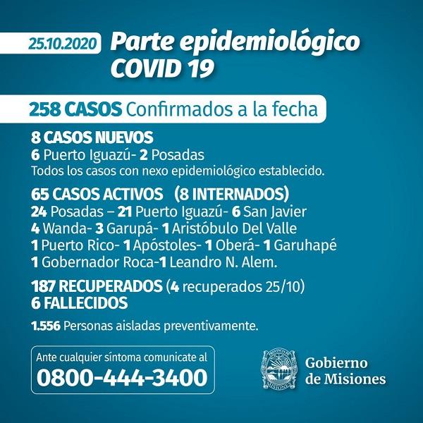 Coronavirus: Misiones reportó ocho nuevos casos durante el domingo y el total de infectados asciende a 258