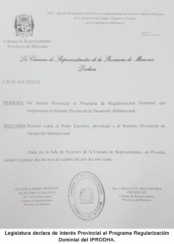 La Legislatura declaró de Interés Provincial el Programa de Regularización Dominial del IPRODHA