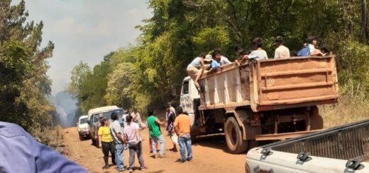 Hipólito Yrigoyen: ante el avance del fuego, familias de la aldea Sapukai debieron ser evacuadas hasta el polideportivo municipal