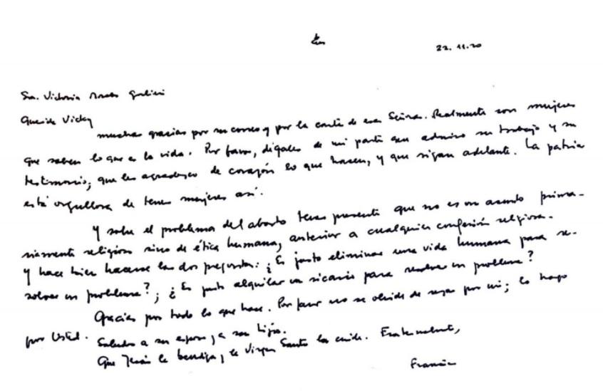 """Para el Papa Francisco, el aborto """"no es un asunto primariamente religioso, sino de ética humana"""""""