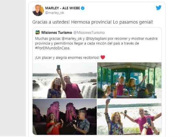 """Mirá las repercusiones que tuvo la visita de Marley y Lizy Tagliani para su programa """"Por el Mundo"""" en Misiones"""