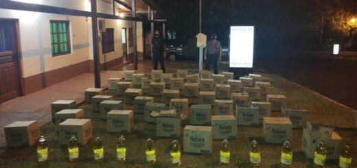 Incautaron 48 cajas de aceite que iban a ser contrabandeadas a Paraguay por un paso clandestino