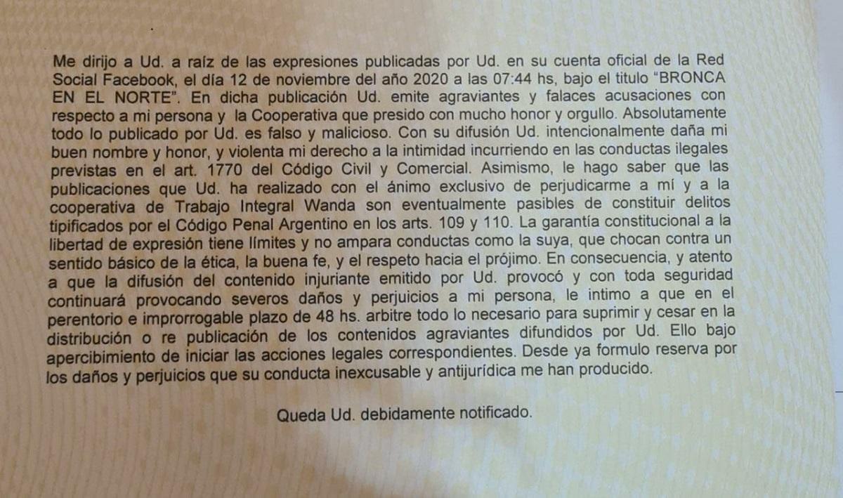 Productores de Wanda desmienten una denuncia del diputado Martín Sereno y lo acusan de difamarlos porque diversificaron su producción y abandonaron el tabaco