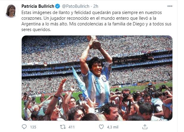 Mensajes de despedida del ámbito político a Diego Maradona