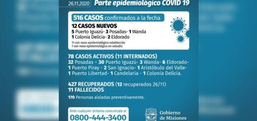 Este jueves se detectaron 12 casos de coronavirus en Misiones y el 79% de los casos activos son de Iguazú y Posadas