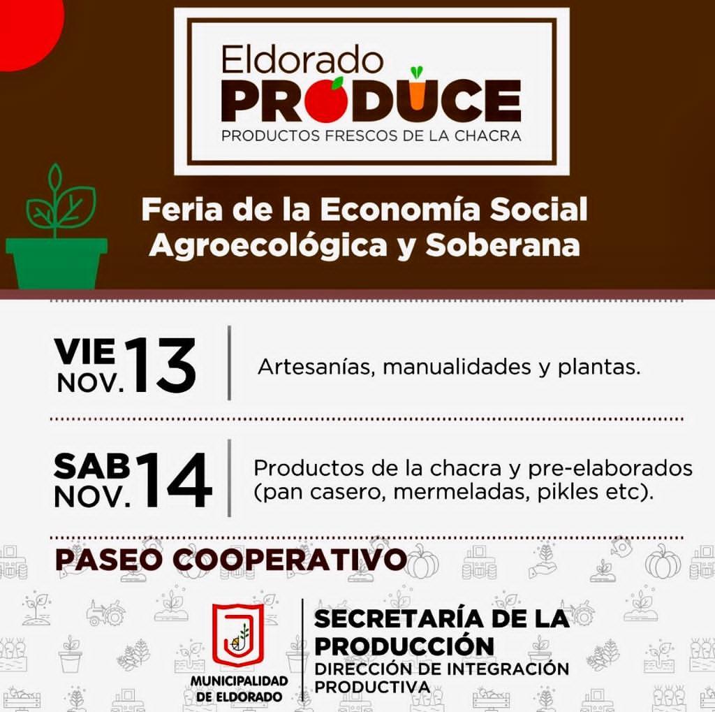 """Este fin de semana se realizará una nueva edición de la Feria """"Eldorado Produce"""""""