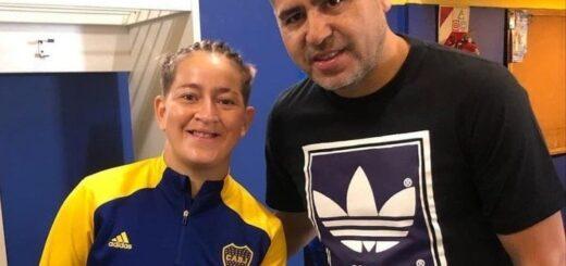 La misionera Yamila Rodriguez y las Gladiadoras recibieron la visita de Juan Román Riquelme