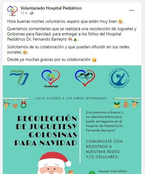 Navidad en Misiones: reciben donaciones de juguetes y golosinas para los niños del Hospital de pediatría