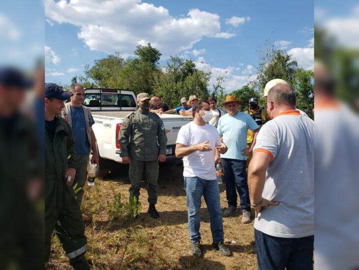El gobernador Oscar Herrera Ahuad recorrió la zona afectada por los incendios en la biosfera Yabotí